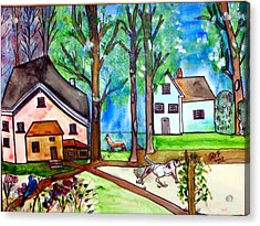Two Houses In The Woods. Acrylic Print by Patricia Fragola