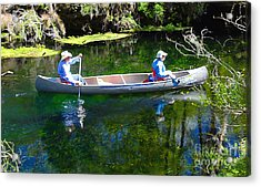 Two In A Canoe Acrylic Print by David Lee Thompson