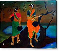 Two Indian Ladies On The River-side Acrylic Print by Xafira Mendonsa