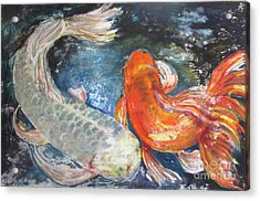 Acrylic Print featuring the painting Two Koi by Susan Herbst