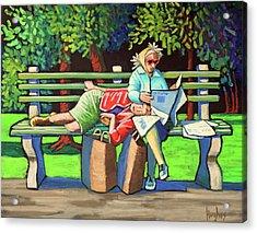 Two Ladies On Bench Acrylic Print