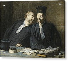 Two Lawyers Conversing Acrylic Print by Honore Daumier