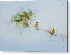 Two Little Birds Acrylic Print by Kamarulzaman Russali