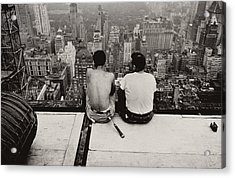 Two Men Sitting On A Scaffold Overlooking Manhattan Acrylic Print