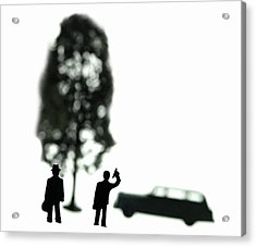 Two Men Visit Tree Acrylic Print by Mark Wagoner