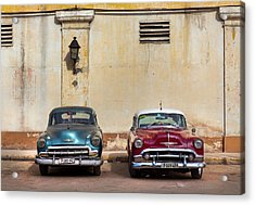 Two Old Vintage Chevys Havana Cuba Acrylic Print by Charles Harden