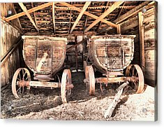Acrylic Print featuring the photograph Two Old Wagons by Jeff Swan