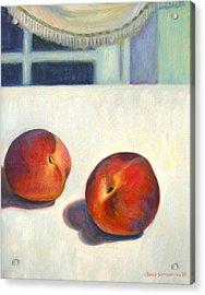 Two Peaches At Night Acrylic Print by Jane  Simonson