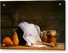 Two Pears With White Cloth Acrylic Print by Sandra Cunningham