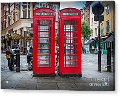 Two Phone Booths In London Acrylic Print by Inge Johnsson