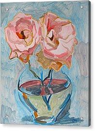 Two Pink Roses Acrylic Print by Vitali Komarov