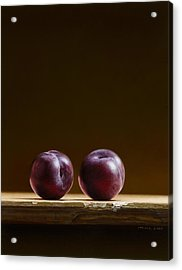 Two Plums Acrylic Print by Mark Van crombrugge