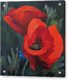 Two Poppies  Acrylic Print by Torrie Smiley