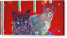 Two Posh Cats Acrylic Print by Charles Stuart