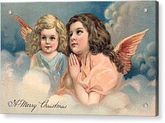 Two Praying Christmas Angels Acrylic Print by American School