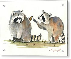Two Raccoons Acrylic Print by Juan Bosco