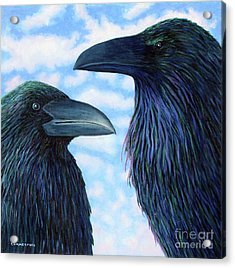 Two Ravens Acrylic Print by Brian  Commerford