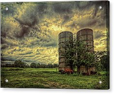 Acrylic Print featuring the photograph Two Silos by Lewis Mann
