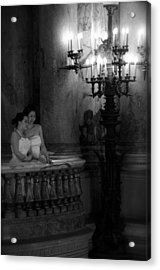 Two Sisters Bw Acrylic Print by Louise Fahy