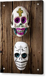 Two Skull Masks Acrylic Print by Garry Gay