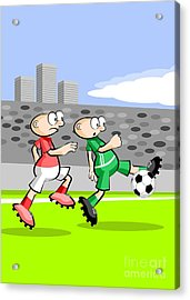 Two Soccer Players Fight To Get The Ball And Advance In The Field Acrylic Print