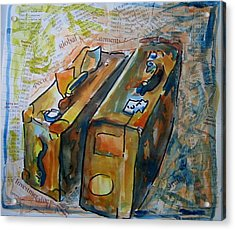 Two Suitcases With Financial Statements Acrylic Print by Tilly Strauss