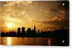 Two Suns - The New York City Skyline In Silhouette At Sunset Acrylic Print by Vivienne Gucwa