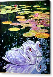 Two Swans In The Lilies Acrylic Print by John Lautermilch