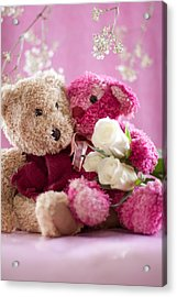 Two Teddy Bears With Roses Acrylic Print