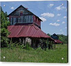 Two Tobacco Barns Acrylic Print by Sandra Anderson