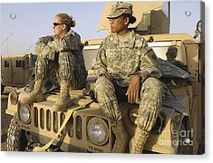 Two U.s. Army Soldiers Relax Prior Acrylic Print by Stocktrek Images