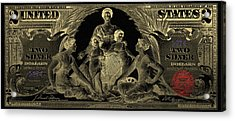 Acrylic Print featuring the photograph Two U.s. Dollar Bill - 1896 Educational Series In Gold On Black  by Serge Averbukh
