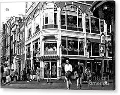 Two Walking In Amsterdam Mono Acrylic Print by John Rizzuto