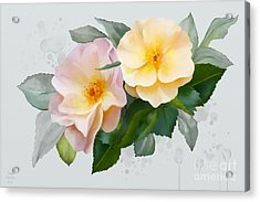 Acrylic Print featuring the painting Two Wild Roses by Ivana Westin
