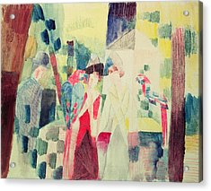 Two Women And A Man With Parrots Acrylic Print by August Macke