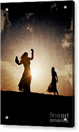 Two Women Dancing At Sunset Acrylic Print