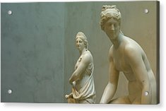 Two Women Acrylic Print by Lawrence Lanoff