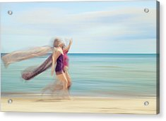 two women on beach No. 5 Acrylic Print by Holger Nimtz