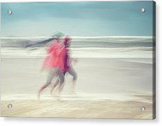 two women on beach No. 7 Acrylic Print by Holger Nimtz