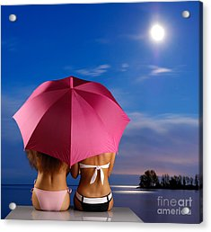 Two Women Relaxing On A Shore Acrylic Print by Oleksiy Maksymenko