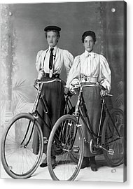 Two Young Ladies With Their Bicycles Circa 1895 Acrylic Print