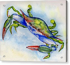 Acrylic Print featuring the painting Tybee Blue Crab 2 by Doris Blessington