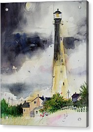 Acrylic Print featuring the painting Tybee Lighthouse by Gertrude Palmer