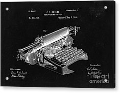 Type Writing Machine Patent From 1896  - Black Acrylic Print by Delphimages Photo Creations