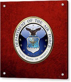 U. S.  Air Force  -  U S A F Emblem Over Red Velvet Acrylic Print