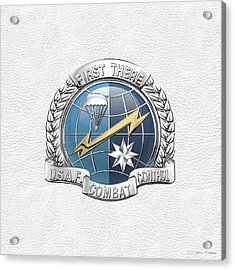 U. S.  Air Force Combat Control Teams - Combat Controller C C T Badge Over White Leather Acrylic Print by Serge Averbukh
