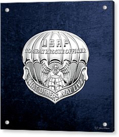 U. S.  Air Force Combat Rescue Officer - C R O Badge Over Blue Velvet Acrylic Print by Serge Averbukh