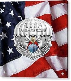 U. S.  Air Force Pararescuemen - P J Badge Over American Flag Acrylic Print by Serge Averbukh