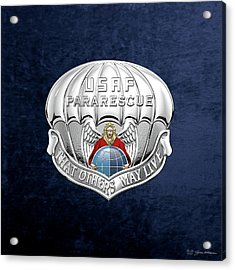 U. S.  Air Force Pararescuemen - P J Badge Over Blue Velvet Acrylic Print by Serge Averbukh