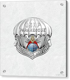 U. S.  Air Force Pararescuemen - P J Badge Over White Leather Acrylic Print by Serge Averbukh